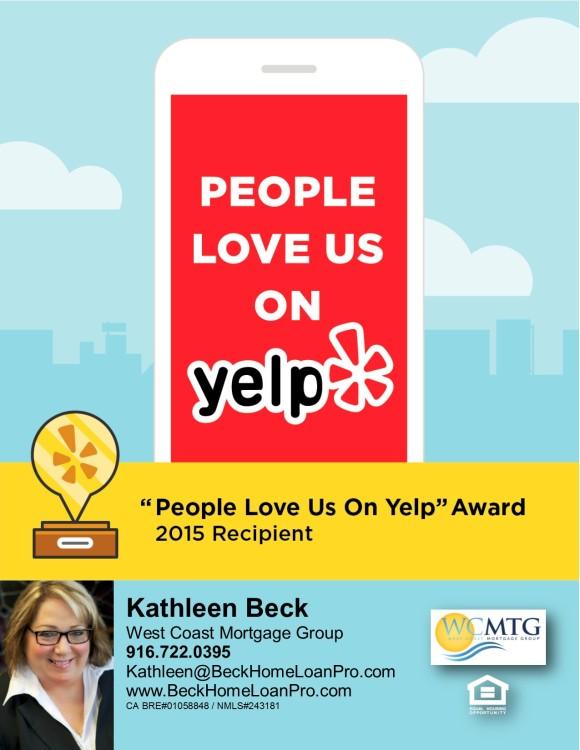 Yelp Award Sept 2015